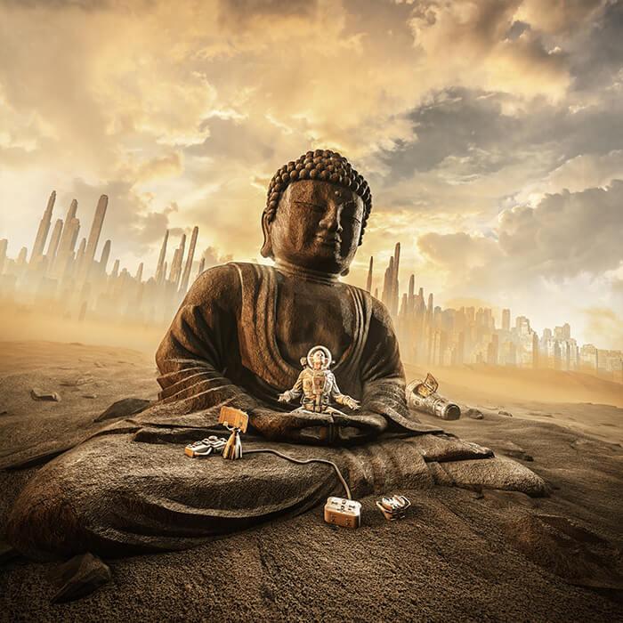 Astronaut Buddha Bedding Set